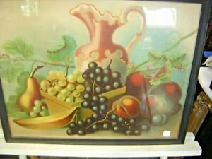 Antique Still Life Lithograph by LeRoy Original Frame & Print   1404