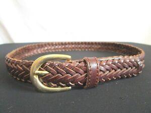 """EUC! Dark Brown Braided Leather Brass Buckle Kid's Belt Size 24""""-26"""""""