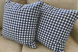 Set 2 Ralph Lauren Blue & White Check Plaid Pillows w Down Inserts 2 Sets Avail