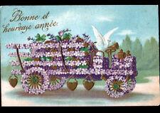 COLOMBE & CAMION de LIVRAISON en FLEURS MIOSOTIS Gaufrée / BONNE ANNEE en 1907