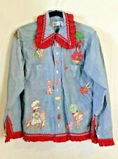 Vtg 70s Southern Bell Western Women Shirt Little Red Riding Hood Embroidered