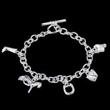 Wholesale Fashion 925 Sterling Argent Massif Bijoux Charms Chain Bracelet H615