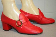 5.5 RED NOS Vtg 1960s 70s Shoe Chunky Heel Buckle Flap Miss Wonderful Pump 60s
