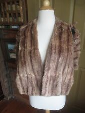 M/L brown striped fox? fur shawl cape stole one-hook v-neck wrap front pockets