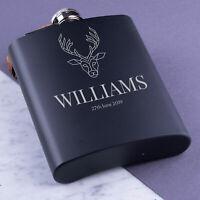 Personalised Hip Flask Engraved Steel 8oz Wedding Groom Best Man Usher Gift