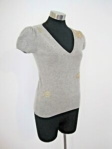 French Connection Embroidered Grey Wool Knit Size Large 14