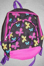 Girls Backpack 2 Compartment Padded Adjustable Straps BUTTERFLY Pink Aqua Yellow