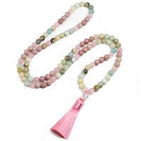 8mm Amazonite&Rose Quartz Round Long Tassel Necklace&Bracelet set 108beads