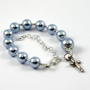 Baptism/Christening Bracelet - made with Swarovski© Pearls - Blue - *FREE POST*