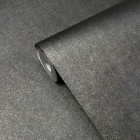 Modern Plain Gray gold Charcoal Metallic non-woven Wallpaper rusted faux foil