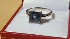 14ct White Gold  3.00 ct  Princess Cut Paraiba Topaz Ring Size N 14K 4.3g