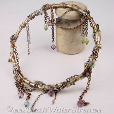 SEAWEED BANGLE - OOAK OneOfAKind Bronze & Sterling Silver Bangle with Gemstones