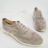 COLE HAAN Zerogrand Wingtip Oxfords Women's Gray Suede Lace-Up Shoes Size 7.5 B