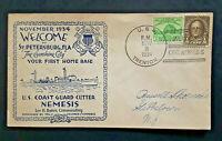 1934 CGC Nemesis To Gibbstown NJ USS Trenton St Petersburg FL Base Naval Cover