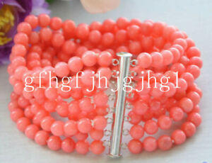 AAAA Real 8row 6MM round pink coral bead bracelet  7.5inch
