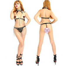 Kinky Sexy Leather with Draped Chains Cupless Vest & Panties Fetish Lingerie Set