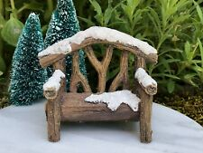 Miniature Dollhouse FAIRY GARDEN Glitter Snow Covered Wood Look CHRISTMAS Bench