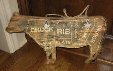 Wood COW BUTCHER MEAT CHART SIGN/Message BOARD*Primitive Home Farmhouse Decor