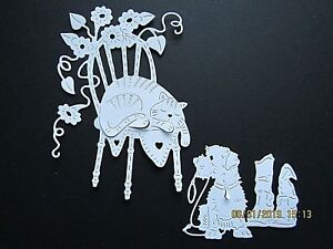 10 x Tattered Lace: 5 Cat On Chair & 5 Dog Waiting For Walkies Die Cuts: White
