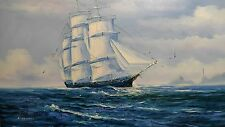 K Maskell Nautical Ship Flying American Flag Signed Oil Painting On Canvas
