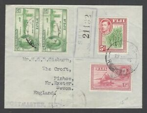 Fiji KGVI King George VI  registered cover to USA
