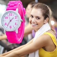 Women Girl Sports Watch Silicone Strap Motion Analog Round Quartz Wristwatches
