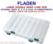 FLADEN LARGE 14 COMPARTMENT DOUBLE SIDED LURE BOX FOR PIKE PLUGS SPOONS SPINNERS