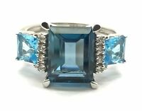 Sterling Silver 925 Elevated Emerald Cut Blue Topaz CZ Accent Cocktail Ring Sz 7