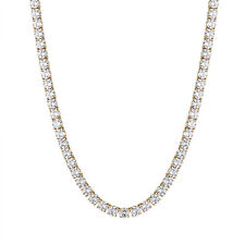 14k Gold Finish Tennis Necklace 6mm Chain 20 Inch Solitaire Simulated Diamonds