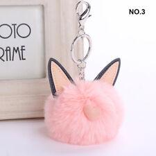 Sweet Rabbit Fur Key Chain Pompon Soft Cat Ears Bags Hang Pendant Balls Keyring