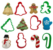 6 Christmas Cookie Plastic Biscuit Cutters Gingerbread Bell Tree Snowman Mitten
