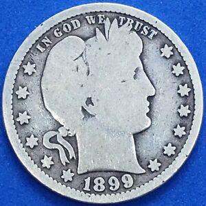●《☆♡☆》1899-P Barber Silver Quarter Dollar, Fine, (F), 25C, $0.25 USD