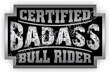 Bad Ass BULL RIDER Rodeo Hat Sticker Decal Label Motorcycle Helmet Safety Labels