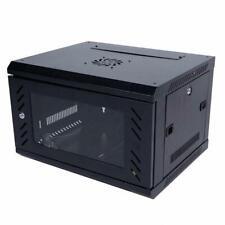 6U Wall Mount Network Server Cabinet Enclosure Rack Glass Door Lock w/ Cool Fan