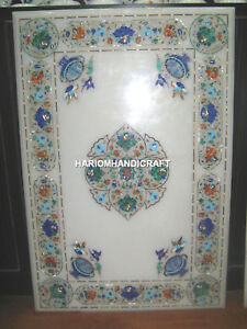White Marble Dining Top Table Floral Gemstone Multi Stone Inlaid Art Decor H4934