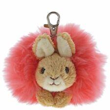 Beatrix Potter Flopsy Rabbit Pom Pom Keyring - Plush Toy Bag Clip Keychain