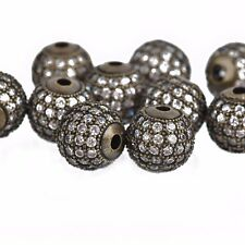 2 Gunmetal Black Micro Pave' Round Beads w/ Cubic Zirconia Crystals 10mm bme0429