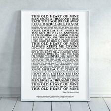 This Old Heart of Mine Rod Stewart Song Lyrics Print Poster (Unframed) Wall Art