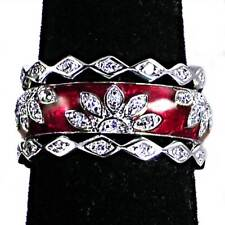 3-RING_#03_CHERRY RED ENAMEL FLORAL CZ BAND RINGS_SZ-8__925 Sterling Silver