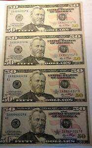 2006 Bureau Of Engraving & Printing Uncut Uncirculated $50 Dollar Sheet of 4 US.