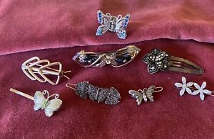 Vintage To Now Hair Barrette Lot Butterfly's Flowers And More!