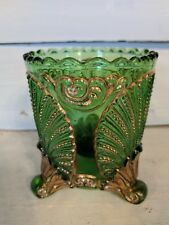 Antique Green and Gold Glass Beaded Footed Spooner