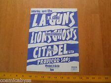 1980s ORIGINAL Punk Rock concert poster LA Guns Lions & Ghosts Citadel Ltd