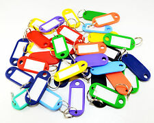 25 KEY TAGS PLASTIC ASSORTED KEY RINGS COLOURED PLASTIC ID TAGS NAME LABEL FOB
