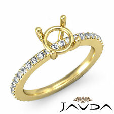 Diamond Engagement Half Eternity Ring 14k Yellow Gold 0.35Ct Round Semi Mount