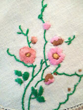 Lovely Pink Flowers  ~ Vintage Hand Embroidered Doily