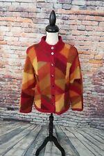 Talbots Women's Multi-Color Block Mohair Blend Fuzzy Cardigan Sweater Coat Sz PM