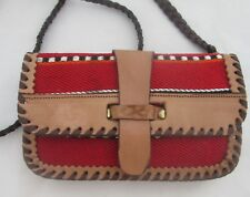 Peruvian Print Tapestry and Leather Cross Body Shoulder Bag Purse Handmade Small