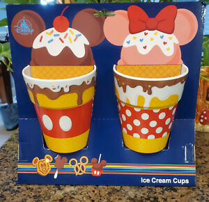 NWT Disney Parks Minnie Mickey Mouse Snack Icons Ice Cream Cup Set of 2