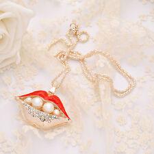 Christmas gift Betsey Johnson Enamel red hot lip crystal pendant necklace